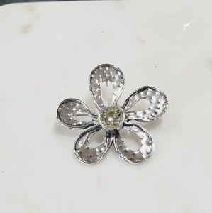 Silver Flower Pendant/Pin